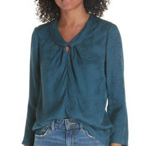 Rebecca Taylor Silk Jacquard Top Blouse Storm